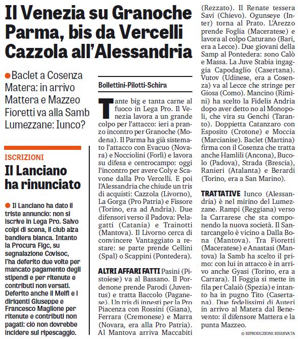 Calciomercato: Baclet al Cosenza. Due super rinforzi per il Matera