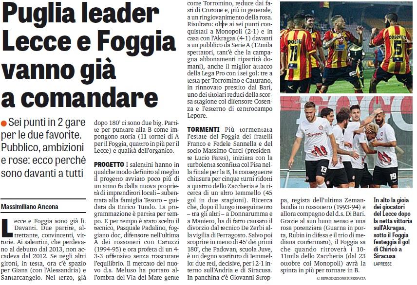 Puglia leader.Lecce e Foggia vanno a comandare