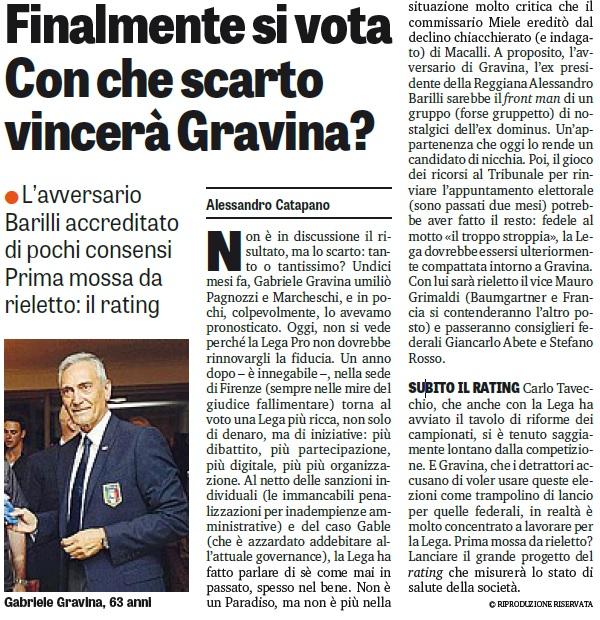 Finalmente si vota. Con che scarto vincerà Gravina?