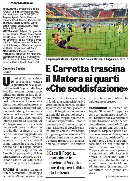 """E Carretta trascina il Matera ai quarti :""""Che soddisfazione"""""""