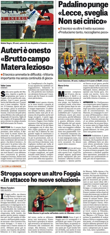 """Auteri:""""Matera troppo lezioso"""". Padalino:""""Lecce poco cinico"""". Stroppa: """"Nuove soluzioni per l'attacco"""""""