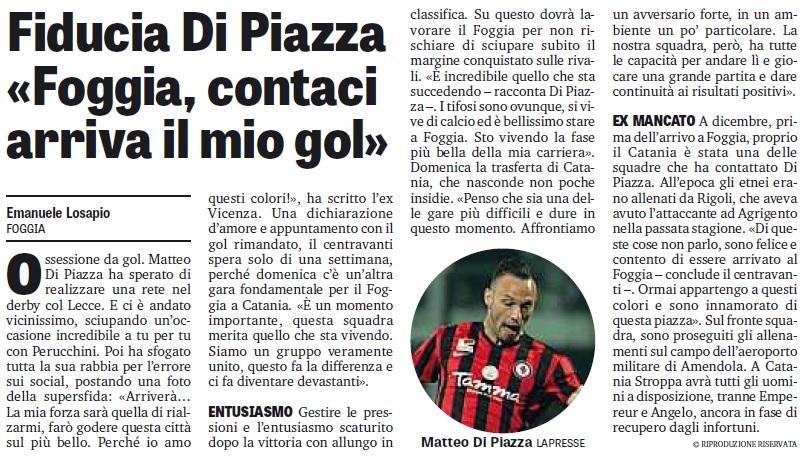 """Di Piazza: """"Foggia, contaci arriva il mio gol"""""""