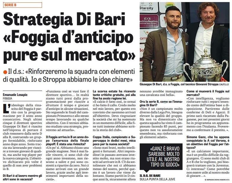 """Strategia Di Bari: """"Foggia d'anticipo pure sul mercato"""""""