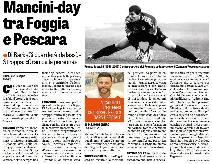 Mancini-day tra Foggia e Pescara. Nicastro presto sarà ufficiale