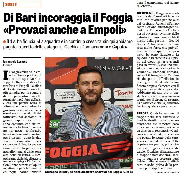 """Di Bari incoraggia il Foggia: """"Provaci anche a Empoli"""""""